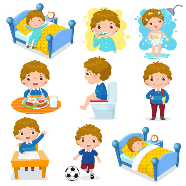 귀여운 아이 함께 아이 들을 위한 매일 일상적인 활동 - 일과 stock illustrations