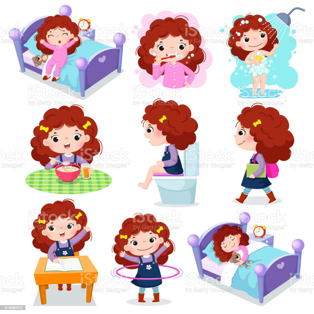 Daily routine activities for kids with cute girl vector art illustration