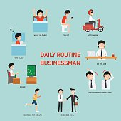 Daily routine business people infographic,vector illustration