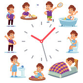 Daily routine clocks. Daily routine clocks. Schedule of happy boy life from morning breakfast at home eating school to sleep clock isolated vector funny children health activity watches with arrow