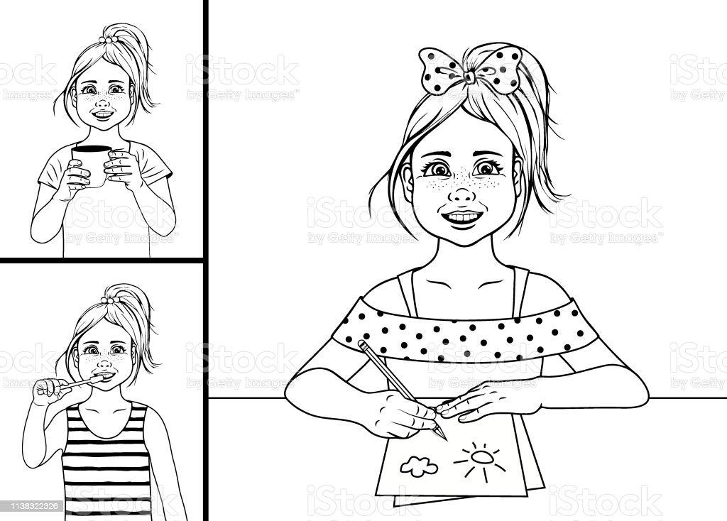 Ilustración De Rutina Diaria Página De Colorear Contorno De Chica