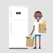 Daily routine. Grocery shopping. Young character holding the paper bags full of fruits, vegetables and bakery products. Flat editable vector illustration, clip art