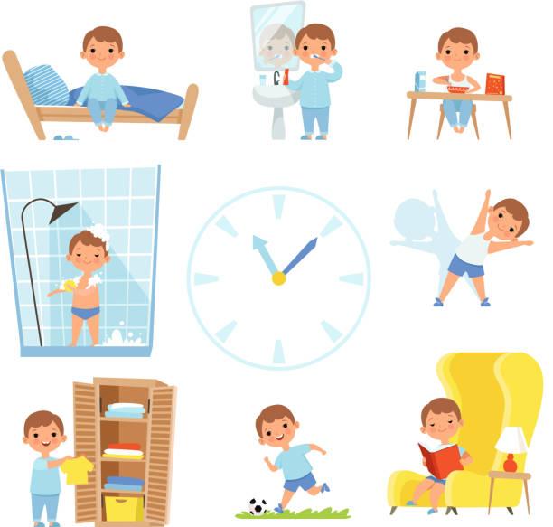 매일 일과입니다. 하루 종일 다양 한 케이스를 만드는 아이 들 - 일과 stock illustrations