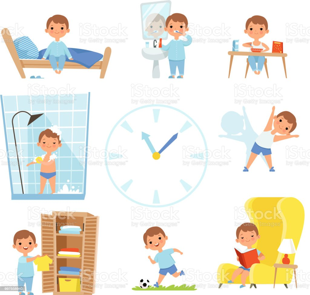 Daily routine. Kids making various cases in all day vector art illustration