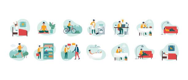 alltag einer jungen, effizienten frau - freizeitaktivität stock-grafiken, -clipart, -cartoons und -symbole