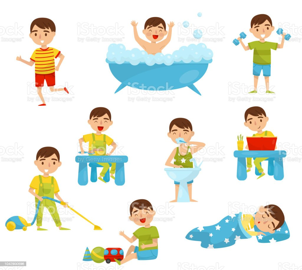Daily routine of cute boy set, kids activity, boy doing sports, taking bath, having breakfast, reading book, playing, sleeping vector Illustration on a white background vector art illustration