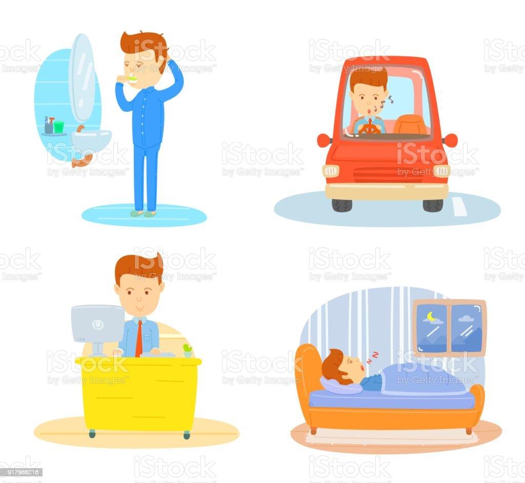 rutina diaria de un empresario cepillado de dientes en la maana conduciendo coche ir