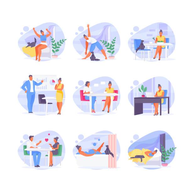 일상적인 여성 - 일과 stock illustrations