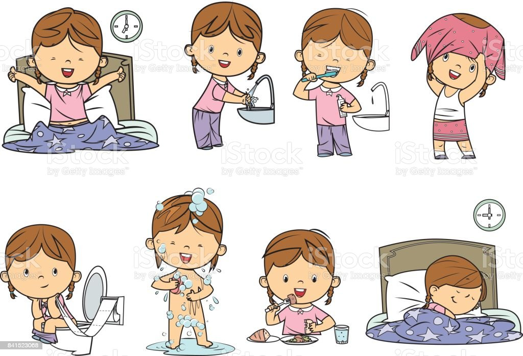 daily routines vector art illustration