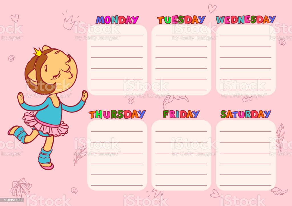 Daily Schedule For Children Vector Template For School With Cute
