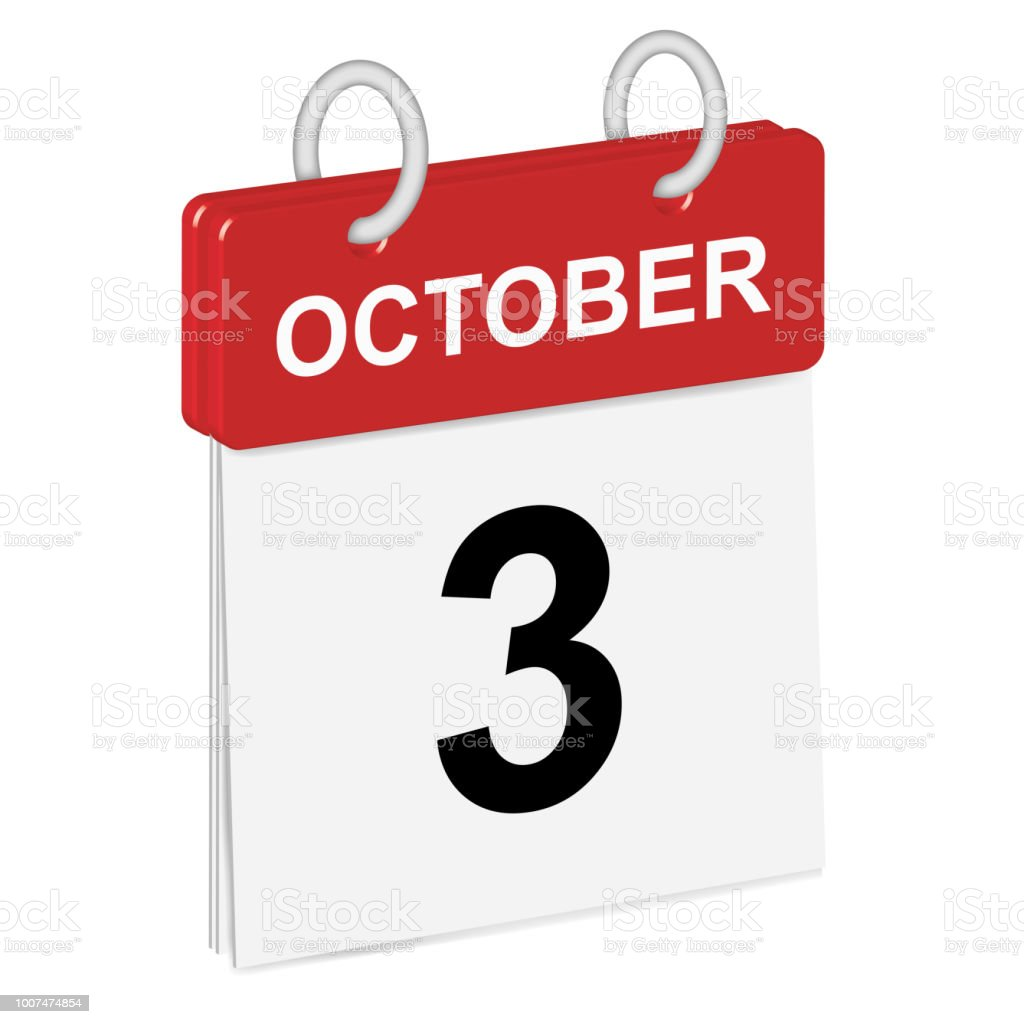 Daily Singleleaf Calendar Red Spine 3d Month Of October Third Day