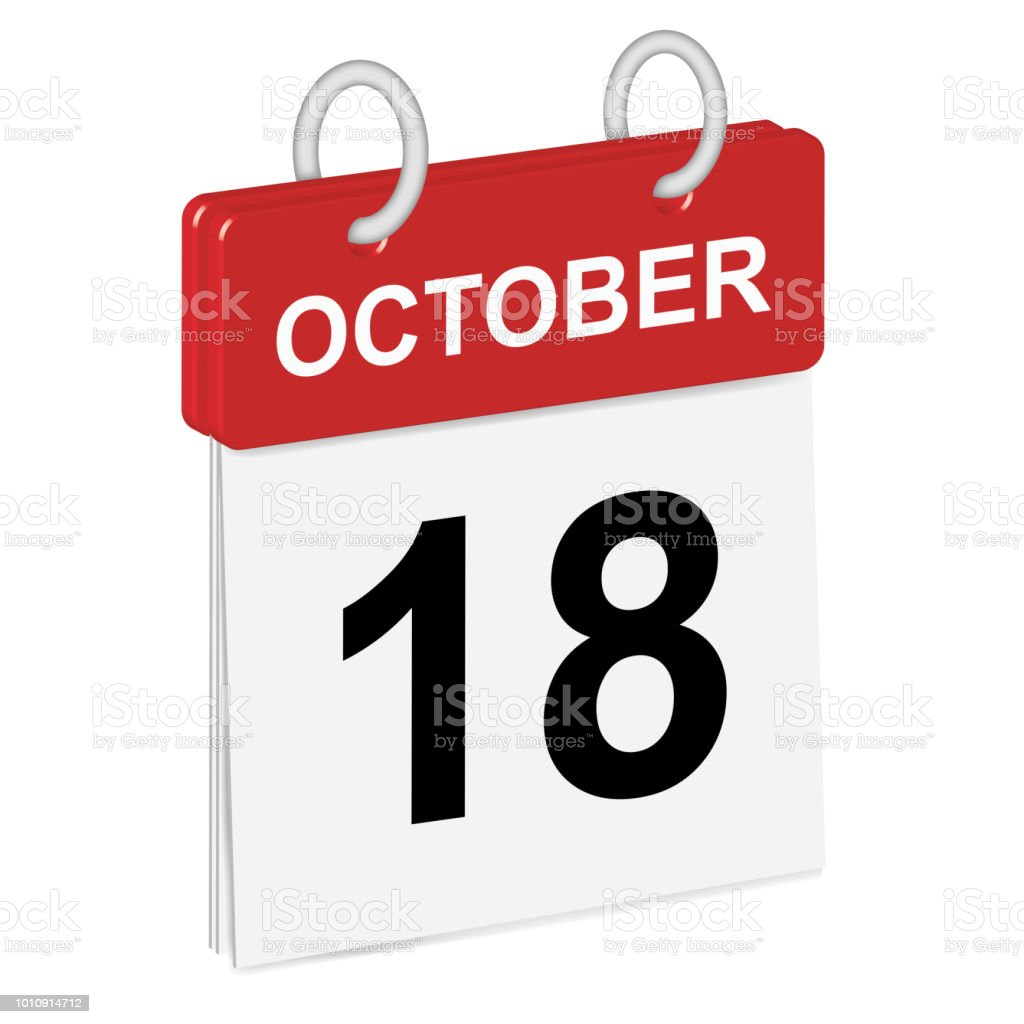 Daily single-leaf calendar, red spine, 3d, month of October,eighteenth day,18th.Vector,illustration