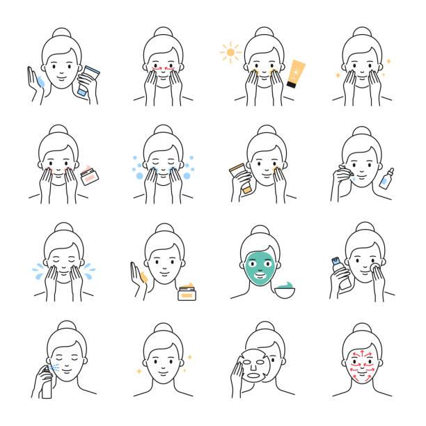 ilustrações, clipart, desenhos animados e ícones de cuidado de pele diário, ícones do vetor do tratamento da beleza ajustados - limpando rosto
