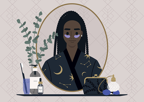 A daily skin routine, a female Black character wearing eye patches and looking at their mirror reflection, a decorated vintage bathroom