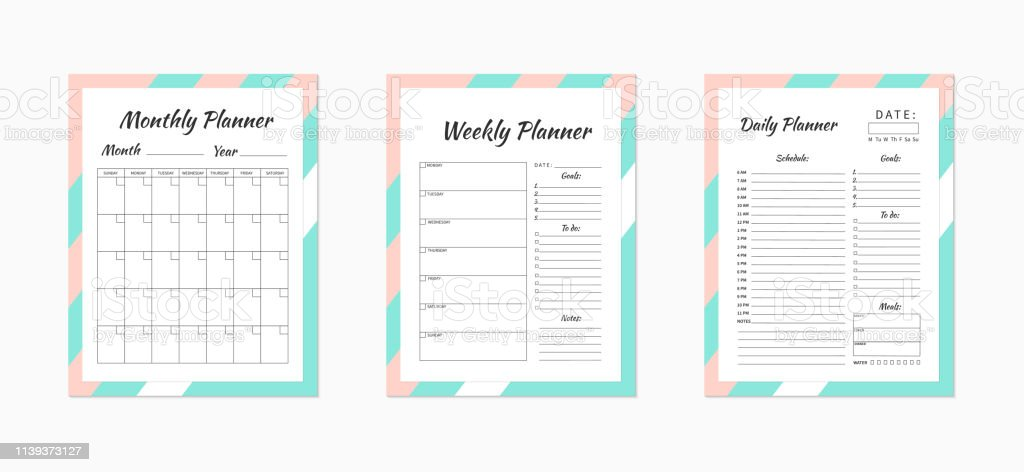 photo relating to Daily Planner Page named Day by day Weekly And Regular monthly Planner Templates Blank White Purple