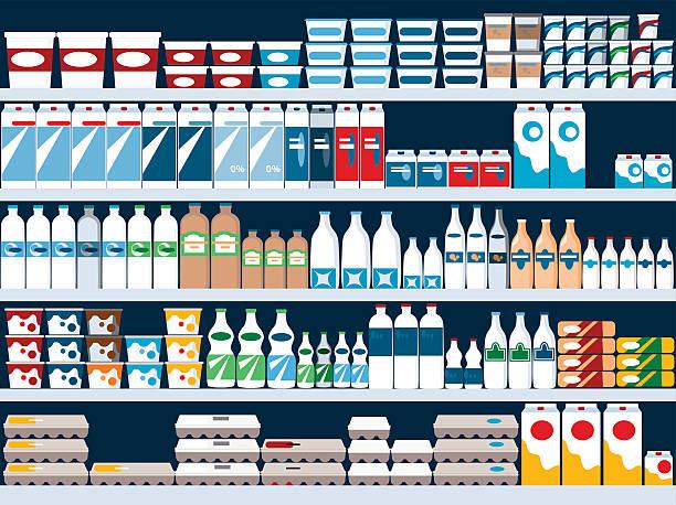 ilustraciones, imágenes clip art, dibujos animados e iconos de stock de sección de productos lácteos - producto lácteo