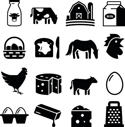 Dairy and Eggs Icons - Black Series