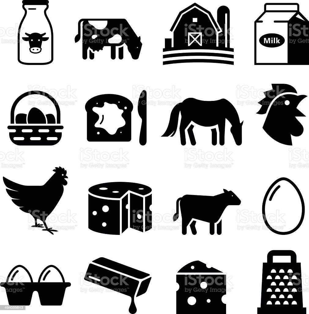 Dairy and Eggs Icons - Black Series vector art illustration