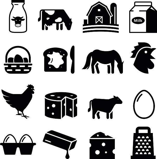 stockillustraties, clipart, cartoons en iconen met dairy and eggs icons - black series - egg