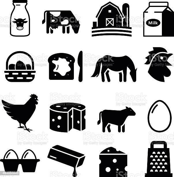Produtos Lácteos E Ovos Série De Íconespreto - Arte vetorial de stock e mais imagens de Bebida