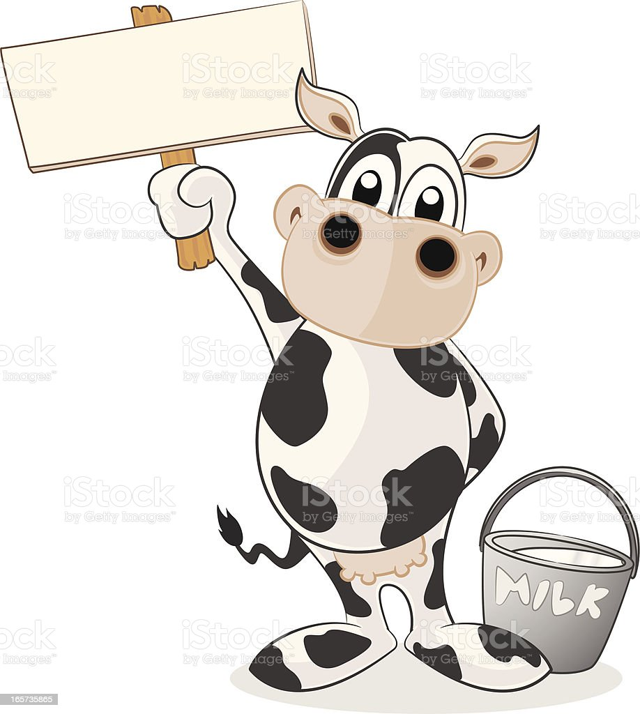 Dairy Cow holding a blank sign royalty-free dairy cow holding a blank sign stock vector art & more images of animal