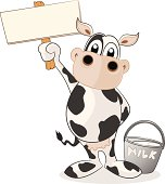 Fully editable vector illustration of a cartoon dairy cow holding a blank sign ready for you to input text of your choice.