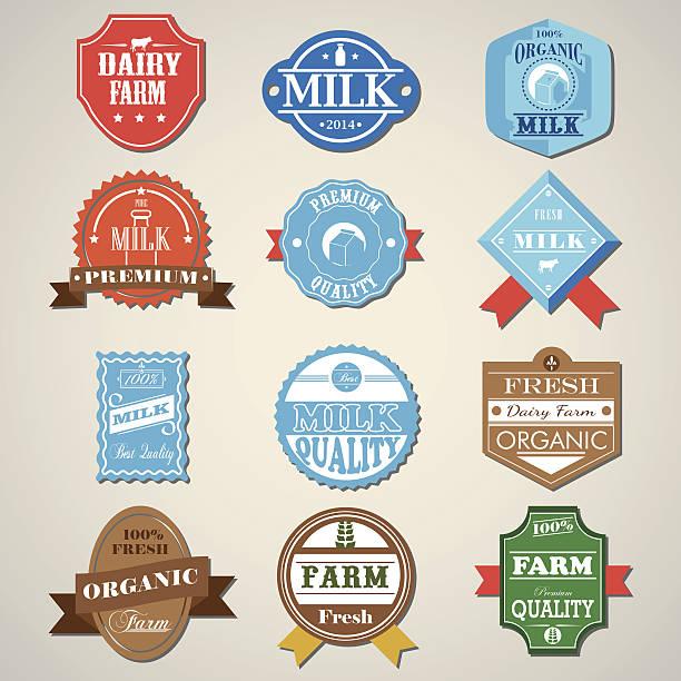 Dairy Farm und Milch Badges Label-Ikonen-set.  Vektor-Illustration – Vektorgrafik