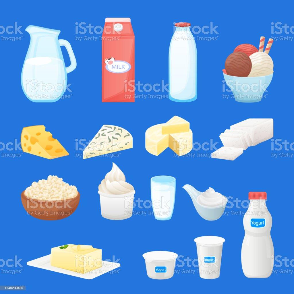 Dairy farm fresh products set. Vector cartoon healthy food...