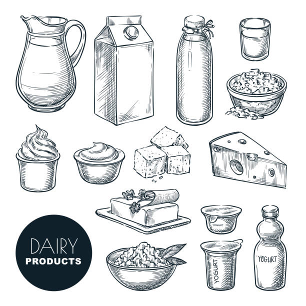 Dairy farm fresh products set. Vector hand drawn sketch illustration. Milk bottle, cottage cheese, yogurt, butter icons Dairy farm fresh products set. Vector hand drawn sketch illustration. Milk bottle, cottage cheese, yogurt package, butter icons. sour cream stock illustrations