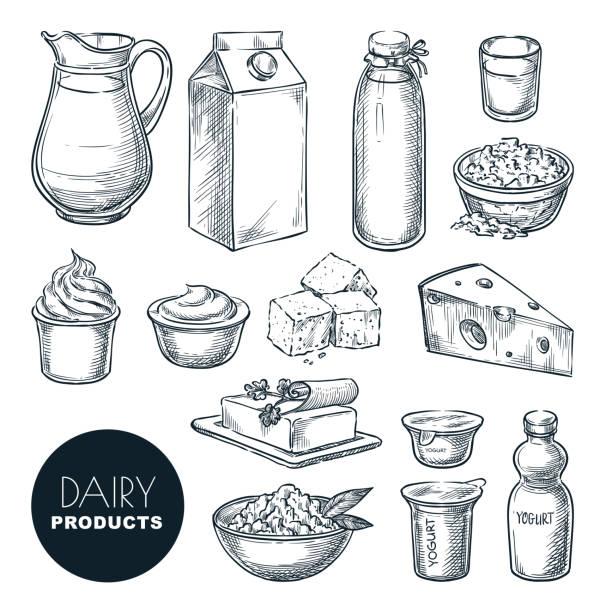 ilustrações de stock, clip art, desenhos animados e ícones de dairy farm fresh products set. vector hand drawn sketch illustration. milk bottle, cottage cheese, yogurt, butter icons - manteiga