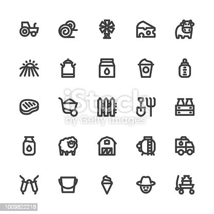 Dairy Farm Icons Bold Line Series Vector EPS File.