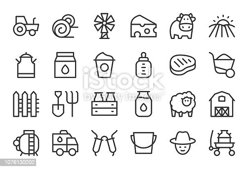 Dairy Farm Icons Light Line Series Vector EPS File.
