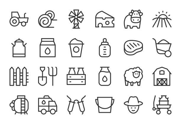 ilustrações de stock, clip art, desenhos animados e ícones de dairy farm icons - light line series - queijo