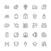 Dairy Farm Icons Thin Line Series Vector EPS File.