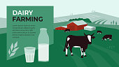 Vector illustration for dairy farming with cow in pasture. Design with landscape, livestock and bottle of milk for agricultural company. Template for banner, poster, flyer, annual report, web page, ad