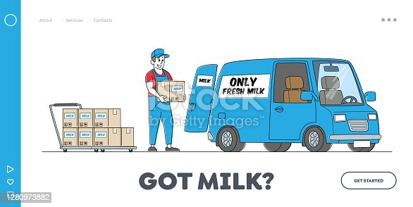 Dairy Food Delivery Service Landing Page Template. Company Delivering Milk by Car. Worker Male Character Load Packages