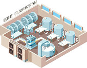 Dairy food factory. Automation industrial milk production bottling equip lines vector isometric factory interior