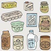 Daily food in sketch style color illlustration