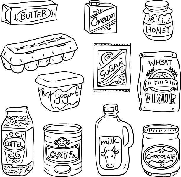 ilustrações de stock, clip art, desenhos animados e ícones de alimentos lácteos a preto e branco - manteiga