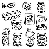 Daily food in sketch style, black and white