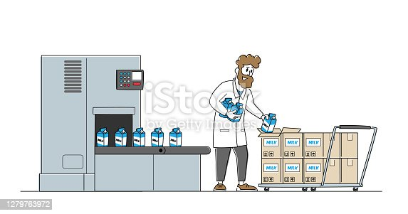 istock Dairy Food Packaging, Industrial Automation Process. Man Plant Worker Take Milk Packages from Factory Conveyor Belt 1279763972