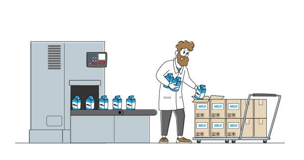 milch-lebensmittelverpackungen, industrieller automatisierungsprozess. mann werkarbeiter nehmen milchpakete aus fabrik förderband - autotransporter stock-grafiken, -clipart, -cartoons und -symbole