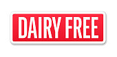 Dairy Free - Banner, Label, Paper, Button Template Vector Stock Illustration