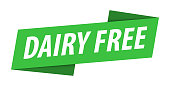 Dairy Free - Banner, Speech Bubble, Label, Ribbon Template. Vector Stock Illustration