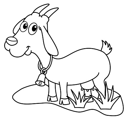 Dairy Goat In A Field For Coloring Stock Illustration