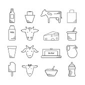Dairy icon in line style