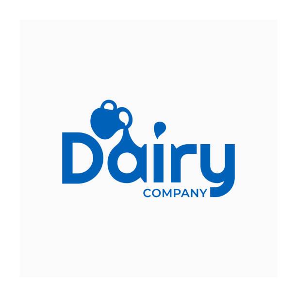 용기와 유제품 아이콘입니다. 우유 회사에 대 한 블루 사인 - 유가공 식품 stock illustrations