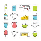 Dairy icons colored set