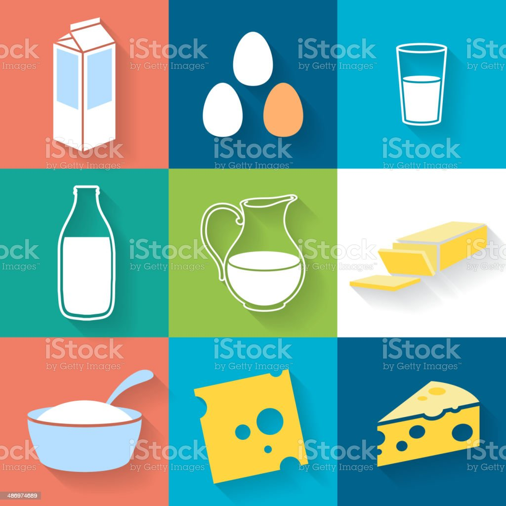Dairy icons set - flat style. vector art illustration