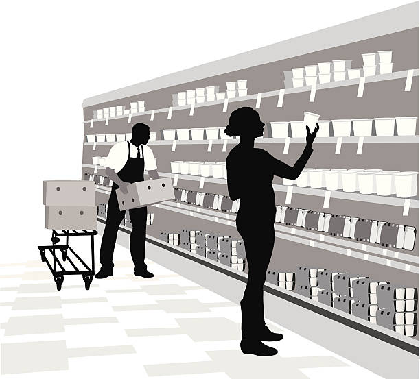 ilustrações de stock, clip art, desenhos animados e ícones de dairyisle - supermarket worker